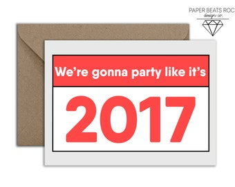 Funny Parents New Years Card, Funny 2017 Responsibilities New Years Card, Leave The Party Early New Years, We Have Kids and Dogs Card