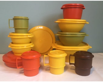 24pc Vintage Retro Tupperware Harvest Color Set, Made In The USA.