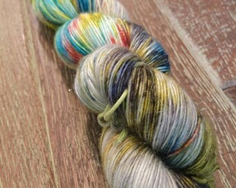 Hand Dyed TO ORDER Superwash Merino Sparkle Singles Sock Yarn, 100g/3.5oz, 'Bang The Gong'