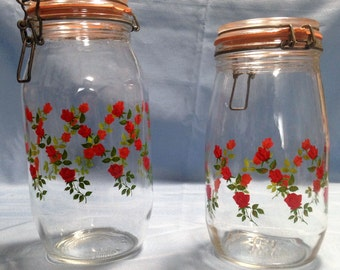 2 ARC Glass Jars, France, Glass Hinged Canisters, Roses. 1.5 L Jar and 2 L Jar