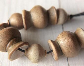 Tribal beads, Boho bead set, 7 Faux ceramic beads, Polymer clay beads, Earthy brown Rustic beads, Ethnic beads, Artisan beads, Organic beads