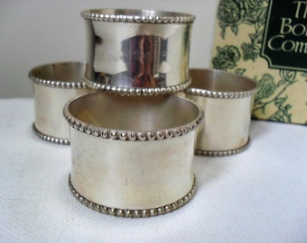 Vintage BEADED NAPKIN RINGS Silver Tone/Silver Plated Napkin Rings Set of 4 The Bombay Company in Original Box Vintage Tableware Retro