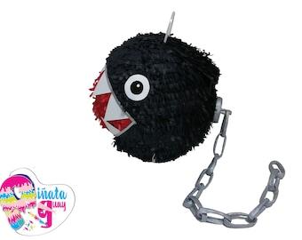 Piñata Chomp chains. Chain Chomp pinata. Piñata Super Mario. 3D