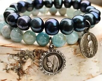 Aquamarine Medal Bracelet / Gemstone Stretch BoHo Bracelet / Lourdes Vintage Medal Gemstone Bracelet / Grace Collection