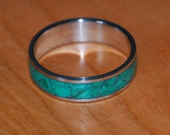 Malachite Stone Inlay Ring/Custom engraving