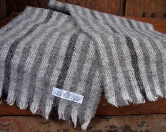 Jacobs Wool Scarf, Striped Scarf, Vintage Scarf, Mens Wool Scarf, Vintage Mens Scarf, British Wool, Pure New Wool, Jacobs Sheep, Made In UK