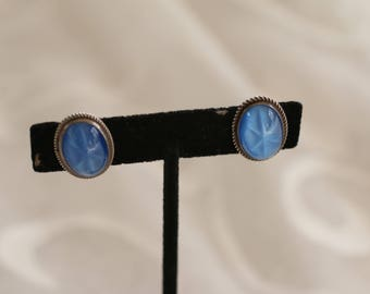 Beautiful Blue Vintage Screw Back Earrings