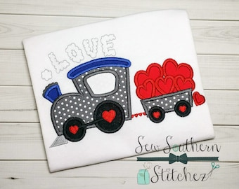 Valentine Love Train Applique Design ~ Instant Download