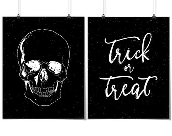 2 Halloween Prints, Skull Print, & Trick Or Treat Print, Distressed, Halloween Wall Art, Digital Print, Black And White, INSTANT DOWNLOAD
