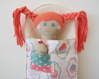 Soft doll in sleeping bag, Handmade cloth doll, doll set, play set, soft doll, rag doll, travel toy, doll in bag,Retro Doll for Girl