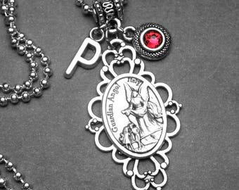 Guardian Angel Holy Medal Filigree Pendant with Custom Birthstone & Initial Letter Charm Necklace, Catholic Gift, Personalized, Archangel