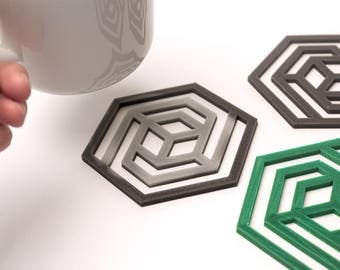 3D Printed Colour Changing Geometric Coasters – Set of 4