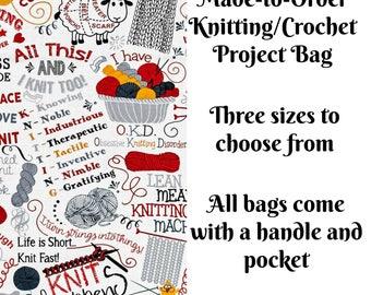 Knitting Bag, Socks, Large, Jumbo, Sweater, Zippered Bag, Wedge Bag, Crochet Bag, Cross Stitch Project Bag, Knitting Jokes