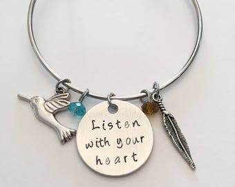 Listen With Your Heart Pocahontas Disney Princess Inspired Hand Stamped Adjustable Bangle Charm Bracelet