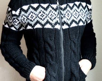 Hand knitted angora wool men's cardigan
