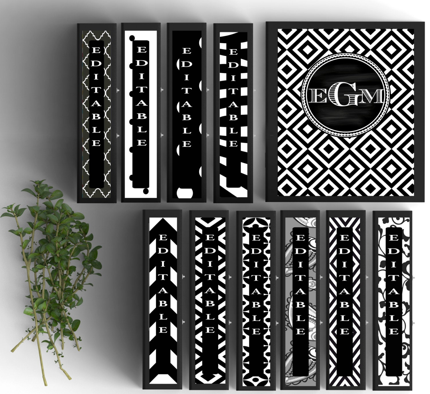 Set Of 10-Monogram Binder Covers Black And White