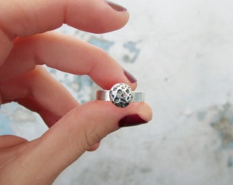 NOKTO Silver Moon Ring - Adjustable Ring - Full Moon Open Ring - Sterling Silver Planet Ring - Moon Ring Sterling Silver