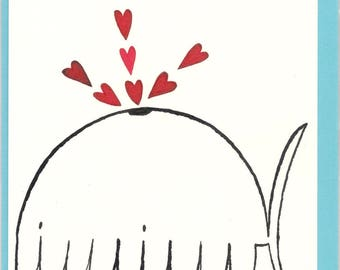 Whale whale spray spray hearts, hearts