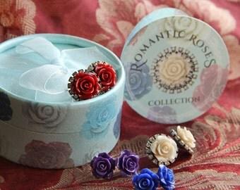 Bridesmaid Flower Earrings, Rose Earrings, Bridal Earrings, Bridesmaid Jewelry, Bridesmaid Gift, Gift for Her, Rose Jewelry, Wedding N1211