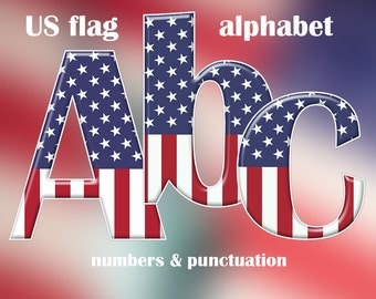 American flag alphabet clipart, patriotic blue red and white 4th of July font, with letters, numbers, punctuation; for commercial use