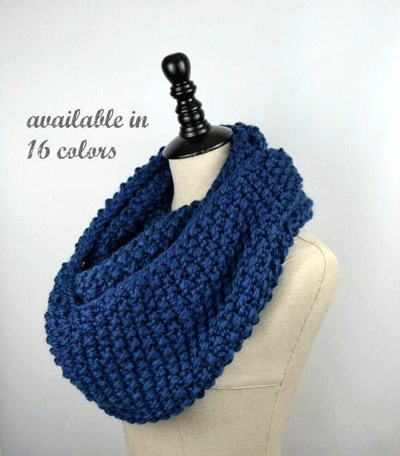 Infinity Scarf Knitting Pattern Seed Stitch : Blue Knit Infinity Scarf Seed Stitch Scarf Chunky Knit by ...