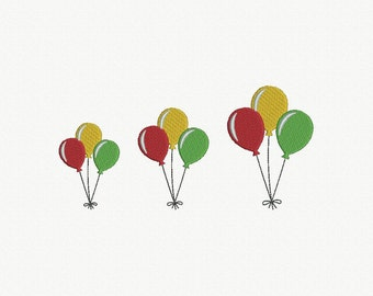 Balloons Machine Embroidery Design - 3 Sizes