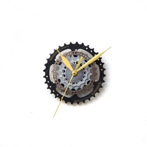 Industrial Wall Clock, Bicycle Wall Clock, Modern Wall Clock, Steampunk Wall Clock, Boyfriend Gift, Husband Gift, Father Gift, Gear Clock