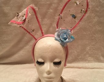 Pink Lace Bunny Ears with Crystals and Light Blue and White Flowers. Burlesque Cabaret Vintage Costume Accessory