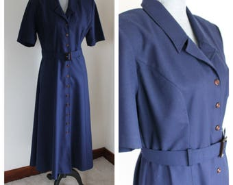 Vintage  Navy Blue Day Dress by Jandabar Size 12 Full Button Front Short Sleeves Belt