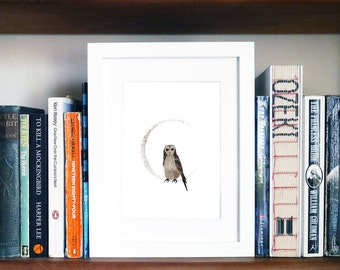Moon Owl A5 Giclee Print Owl Art