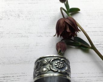 Oxidised silver ring, flower pattern botanical statement ring , rustic flower ring, floral wide band, nature jewellery, gift for her