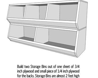 Plywood Storage Bins  - Wood Plans - PDF File - Blueprint