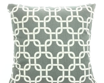 Gray Pillow Covers, Decorative Throw Pillows, Cushions, Grey on Natural Gotcha, Pillows for Couch Bed, Throw Pillow, One or More All Sizes