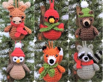 Crochet Christmas Pattern, Crochet Ornament Pattern, Woodland Animal Crochet Pattern, Amigurumi Christmas Pattern, Crochet Fox, Cardinal PDF