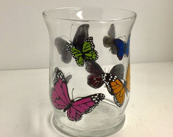 Hand Painted Butterflies Glass Candle Holder