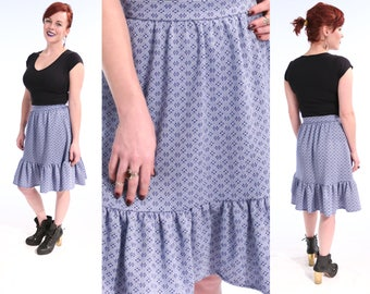1970's Blue & White GEOMETRIC Prairie Skirt Knee Length HIGH WAIST Circle Skirt   small vintage 80s Ruffle Hem Hippie Bohemian Skirt
