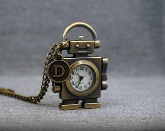 Robot Pocket Watch Antique Bronze Android Watch Fob KCNScrew Mens Kids Pocket Watch Pendant 46x33mm -P561
