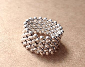 Révol Ring; 925 sterling silver beaded statement ring; 10mm, 13mm or 16mm deep