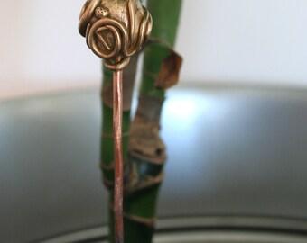 sculpture à planter (fleur en bronze)