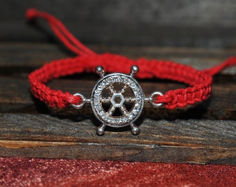 Adjustable Hemp Nautical Ship Wheel Connector Bracelet