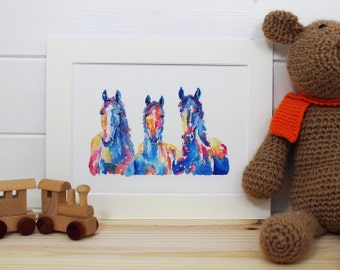 Three Watercolour Horses Fine Art PRINT