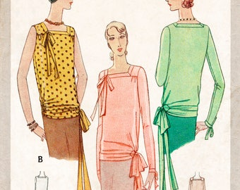 1920s 1930s pattern // flapper blouse bow detail // vintage sewing pattern reproduction // PICK YOUR SIZE Bust 32 34 36 38 40