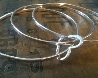Personalised - 3 Silver bangles with silver heart