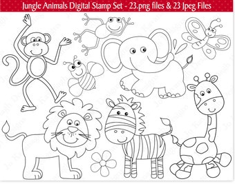 Jungle Digital Stamps,Jungle Stamps,Digital Stamps,Jungle Animal Stamps,Jungle Clipart,Animal Stamps,Safari Stamps,Zoo Stamps,Commercial