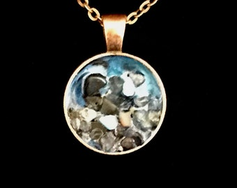 Ocean, Seascape, Rocks, Blue, Turquoise, Beach, Surfer, Surf, Hand Painted Jewelry, Nature Pendant Necklace, Handmade, Abstract Painting