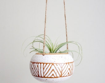 Made to Order | Geometry White hanging planter for airplants or succulents by Mud to Life