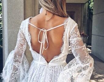 Reserved SALE /Primrose Gown  / Bohemain Wedding Dress / Lace Bohemian Gown / Boho wedding romantic