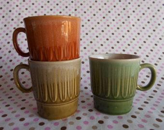Retro Drip Glaze Stacking Coffee Cups Set of 3 1970's  #10296