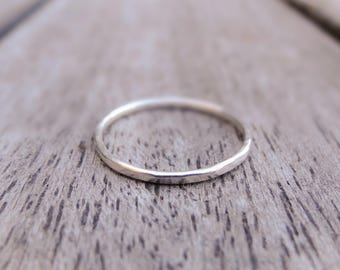 Thin silver ring - hammered silver ring, sterling silver ring, silver stacking rings, thin band ring, dainty silver ring, minimal ring