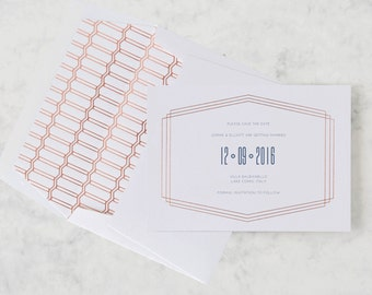 Linked in Life Luxury Rose Gold Letterpress Save the Date + Foil Lined Envelope